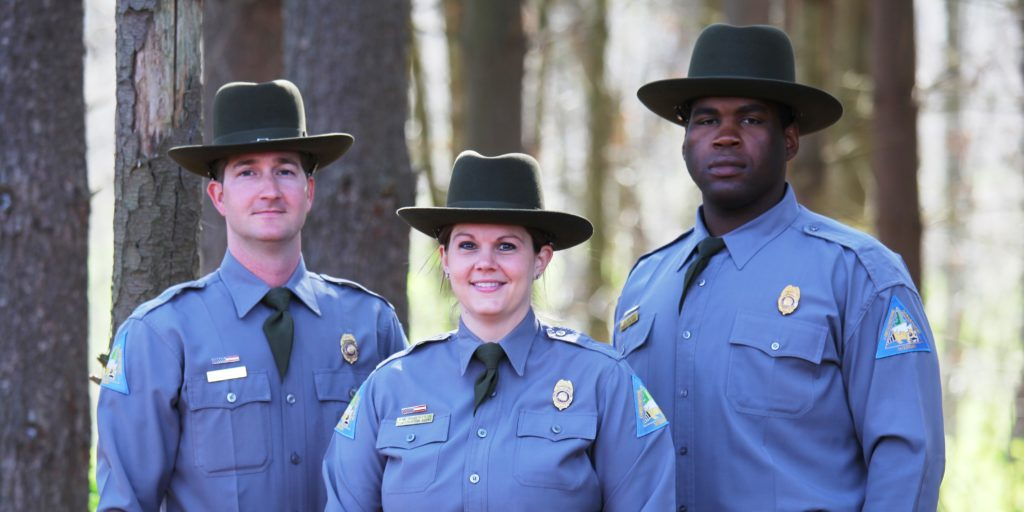 Missouri Department of Conservation Agents (l-r) Kevin Eulinger (Lincoln County), Becky Robertson (St. Charles County), and James Bolden (St. Charles County). Photo Credit Missouri Department of Conservation